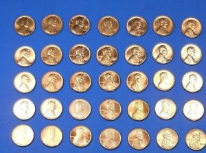 LINCOLN MEMOR CENT PENNY SET 1959 1974 COLLECTION  36 COINS  CHOICE BU