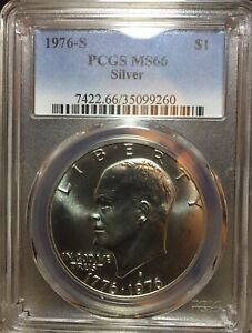 SILVER EISENHOWER 1976 S  DOLLAR COIN PCGS CERTIFIED  MS66 SILVER/ ESTATE