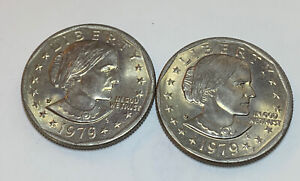 LOT 45  2  SUSAN B ANTHONY DOLLARS 1979 P   UNGRADED BUT POSSIBLY AU?