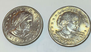 LOT 46  2  SUSAN B ANTHONY DOLLARS 1979 P   UNGRADED BUT POSSIBLY AU?