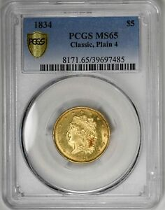Click now to see the BUY IT NOW Price! 1834 $5 CLASSIC PLAIN 4 CLASSIC HEAD PCGS MS65 ORIGINAL LUSTER SEMI PL GOLD