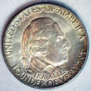 1927 VERMONT SILVER HALF DOLLAR COMMEMORATIVE COIN 50C US ALMOST UNCIRCULATED