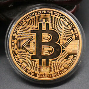 ROSE GOLD PLATED COIN BITCOIN COIN GIFT BTC ART COLLECTION PHYSICAL PLATED
