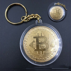 GIFT COLLECTIBLES KEYCHAIN KEY RING METAL ALLOY BITCOIN ART 1PC GOLD PLATED