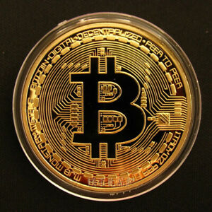 BITCOIN COIN GOLD PLATED COLOR COLLECTIBLE COIN BTC PHYSICAL COLLECTION GIFT NEW