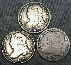 1833 1834 1835 CAPPED BUST DIME SILVER       NICE TYPE COIN LOT       M278
