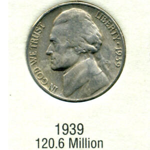 1939 P JEFFERSON NICKEL   US AMERICAN OLD NCIE 5 CENT COIN 4565