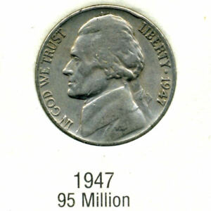 1947 P  JEFFERSON NICKEL   US AMERICAN OLD NCIE 5 CENT COIN 130
