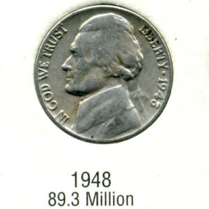 1948 P JEFFERSON NICKEL   US AMERICAN OLD NCIE 5 CENT COIN 164