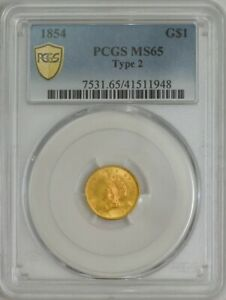 Click now to see the BUY IT NOW Price! 1854 $ GOLD INDIAN DOLLAR TYPE 2 MS65 PCGS SECURE 943996 1