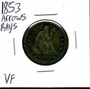 1853 ARROWS & RAYS 25C SEATED LIBERTY QUARTER DOLLAR IN VF CONDITION 04166