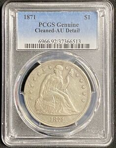 1871 SEATED LIBERTY SILVER DOLLAR $1   PCGS AU DETAILS    EARLY COIN