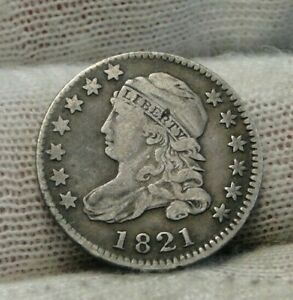 1821 CAPPED BUST DIME 10 CENTS   JR 5  R 3 NICE COIN    9305