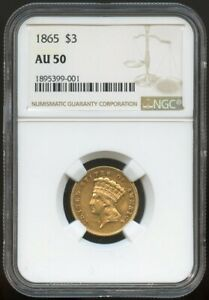 1865 $3 GOLD INDIAN PRINCESS AU 50 NGC NICE SURFACES AND LUSTER ONLY 1 140 MIN