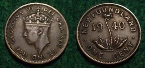 ONLY 300.000 MINTED 1940 1 CENT NEWFOUNDLAND  PRE CANADA COINAGE