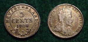 ONLY 400.000 MINTED SILVER 1908 5 CENTS NEWFOUNDLAND  PRE CANADA COINAGE