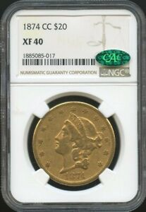 1874 CC $20 GOLD LIBERTY DOUBLE EAGLE XF 40 CAC NGC GREAT SURFACES & COLOR
