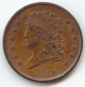 1835 CLASSIC HEAD HALF CENT LUSTROUS AND ORIGINAL AU UNC DETAILS CLOSE TO MS