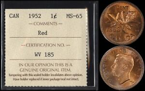 CANADA 1 CENT 1952  ICCS MS65RD   FULLY RED GEM