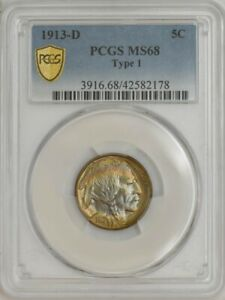 Click now to see the BUY IT NOW Price! 1913 D BUFFALO NICKEL 5C TYPE 1 MS68 PCGS SECURE 943847 1   GORGEOUS COLOR
