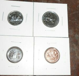 LOT OF 4 CANADA  PROOF LIKE 1975 COINS 1 CENT 10 CENTS 5 CENTS 25 CENTS COINS