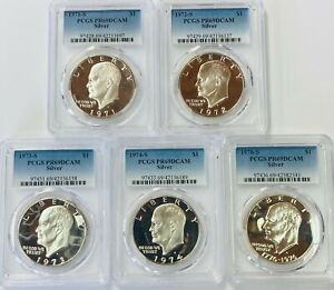 Click now to see the BUY IT NOW Price! 1971 S TO 1976 S  SILVER EISENHOWER IKE DOLLAR PCGS PR69 DEEP CAMEO 5 COIN SET