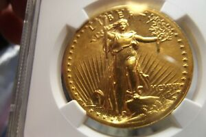 1907 HIGH RELIEF ST GAUDENS $20 GOLD NGC UNC MUST SEE