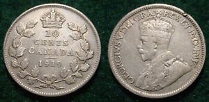 1919 SILVER 10 CENTS CANADA  NICE DETAILS