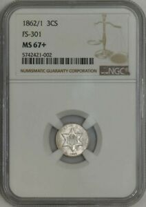 Click now to see the BUY IT NOW Price! 1862/1 THREE CENT SILVER 3CS FS 301 MS67  NGC 942586 7
