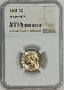 Click now to see the BUY IT NOW Price! 1965 JEFFERSON NICKEL 5C MS66 5FS NGC 939557 3