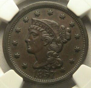 1857 BRAIDED HAIR LARGE CENT  NGC  AU 58 BN  N 1 LARGE DATE