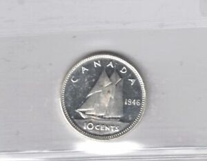 CANADA 1946 10 CENTS DIME KING GEORGE VI .800 SILVER COIN GRADED ICCS MS 64