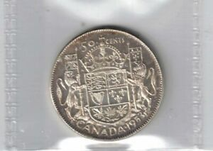 CANADA 1953 SMALL DATE NSF 50 CENT ELIZABETH SILVER COIN GRADED ICCS MS 63 CAMEO