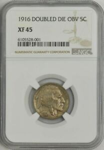 Click now to see the BUY IT NOW Price! 1916 BUFFALO NICKEL 5C DOUBLED DIE OBVERSE XF45 NGC 943346 1