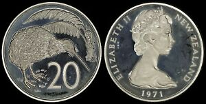 NEW ZEALAND 20 CENTS 1971  PROOF   ONLY 5 000 MINTED