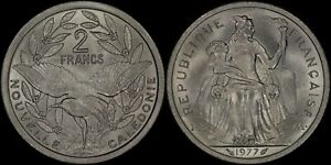 NEW CALEDONIA 2 FRANCS 1977 FRENCH COLONIAL  CHOICE UNC   PREMIUM QUALITY