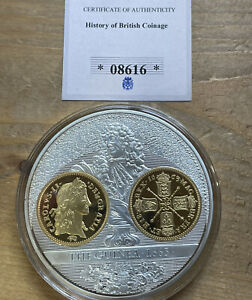 THE HISTORY OF BRITISH COINAGE 2013 THE GUINEA 1663 SILVER PLATED PROOF COIN UK