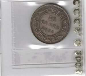 NEWFOUNDLAND 1874 50 CENTS QUEEN VICTORIA STERLING SILVER COIN GRADED CCCS VF 35