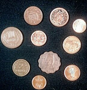 WORLD/FOREIGN 10 COIN LOT STARTER SET  ALL COPPER  MOST IN AU/BU CONDITION