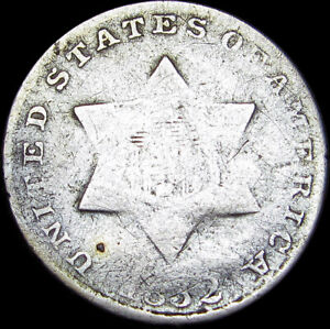 1852 SILVER THREE CENT PIECE 3CP     NICE DETAILS DAMAGED TYPE COIN      S743
