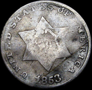 1853 SILVER THREE CENT PIECE 3CP     NICE DETAILS DAMAGED TYPE COIN      S745