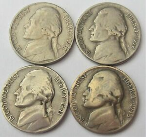 LOT OF 4 CIRCULATED 1941 1945 1952D & 1961D JEFFERSON NICKELS / SHIPS FREE