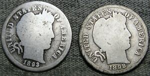 1893 S 1898 S BARBER DIME SILVER      NICE DETAILS LOT      S908