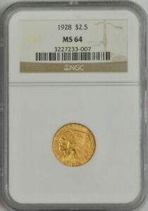 1928 $2 1/2 GOLD INDIAN MS64 NGC 944405 1