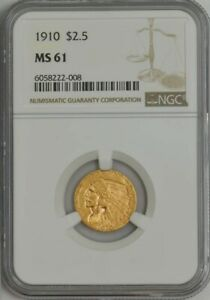 1910 $2 1/2 GOLD INDIAN MS61 NGC 944449 3