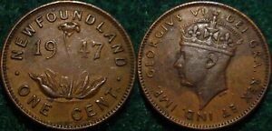 ONLY 313.772 MINTED 1947 1 CENT NEWFOUNDLAND PRE CANADA
