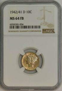 Click now to see the BUY IT NOW Price! 1942/1 D 1942/41 D MERCURY DIME 10C MS64 FB NGC 944275 4