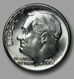 Click now to see the BUY IT NOW Price! 1961 D  ROOSEVELT DIME BU UNCIRCULATED GEM  FROM ROLL  1 EA  UNCLEANED ORIGINAL
