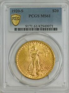 Click now to see the BUY IT NOW Price! 1920 S $20 GOLD ST. GAUDENS MS61 PCGS SECURE 944249 1