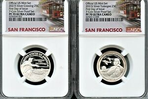 2021 S SILVER 25C  2PCS  TUSKEGEE CROSSING FDI FROM 7 COIN SET NGC PF70 UC  T